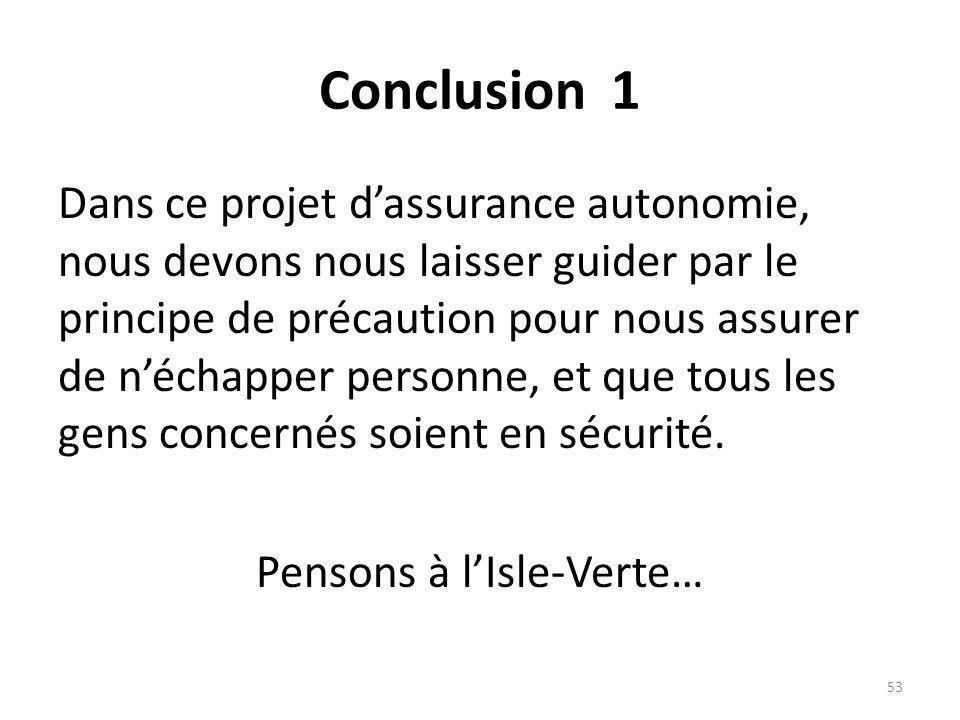 Conclusion 1 Dans ce projet dassurance autonomie, nous devons nous laisser guider par le principe de précaution pour nous assurer de néchapper personn