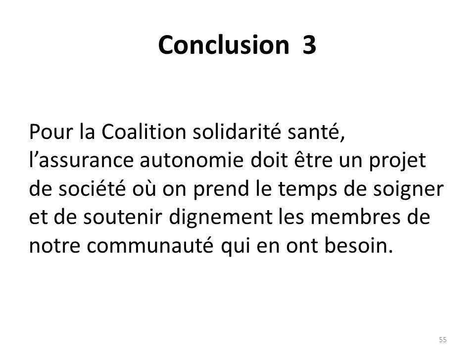 Conclusion 3 Pour la Coalition solidarité santé, lassurance autonomie doit être un projet de société où on prend le temps de soigner et de soutenir dignement les membres de notre communauté qui en ont besoin.