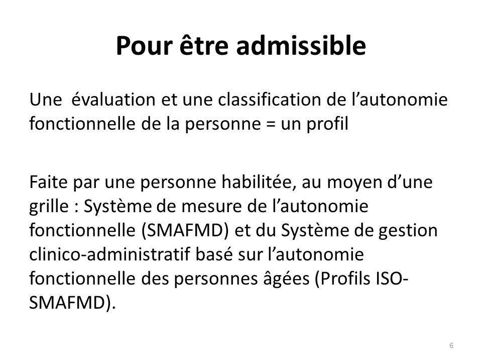 Pour être admissible Une évaluation et une classification de lautonomie fonctionnelle de la personne = un profil Faite par une personne habilitée, au