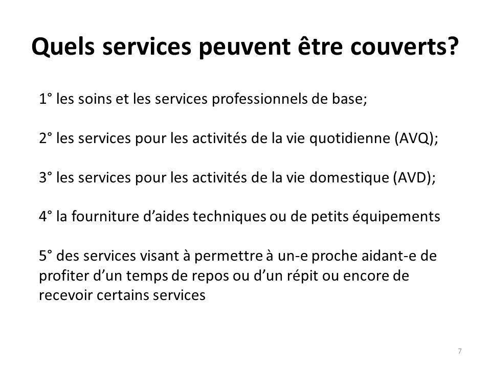 Quels services peuvent être couverts? 1° les soins et les services professionnels de base; 2° les services pour les activités de la vie quotidienne (A