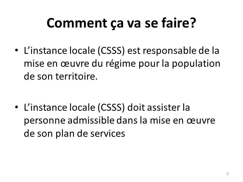 Comment ça va se faire? Linstance locale (CSSS) est responsable de la mise en œuvre du régime pour la population de son territoire. Linstance locale (
