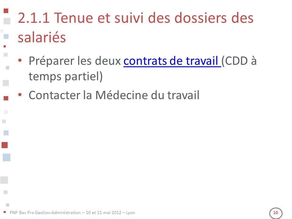 PNP Bac Pro Gestion-Administration – 10 et 11 mai 2012 – Lyon 10 2.1.1 Tenue et suivi des dossiers des salariés Préparer les deux contrats de travail