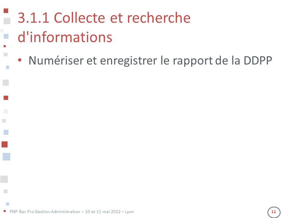PNP Bac Pro Gestion-Administration – 10 et 11 mai 2012 – Lyon 11 3.1.1 Collecte et recherche d'informations Numériser et enregistrer le rapport de la