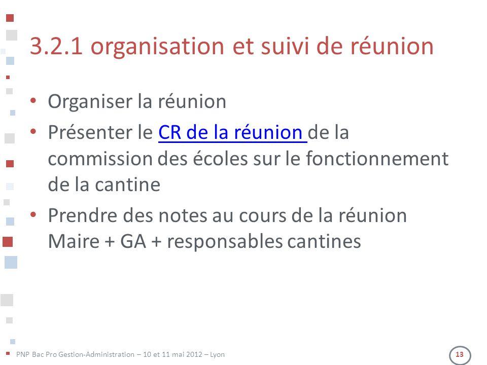 PNP Bac Pro Gestion-Administration – 10 et 11 mai 2012 – Lyon 13 3.2.1 organisation et suivi de réunion Organiser la réunion Présenter le CR de la réu