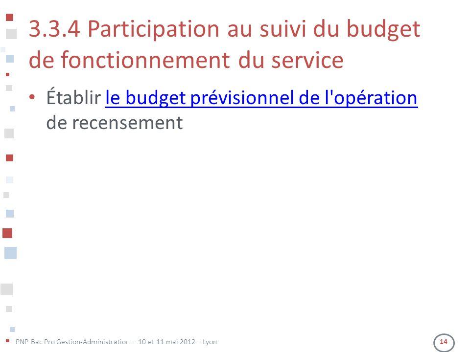 PNP Bac Pro Gestion-Administration – 10 et 11 mai 2012 – Lyon 14 3.3.4 Participation au suivi du budget de fonctionnement du service Établir le budget