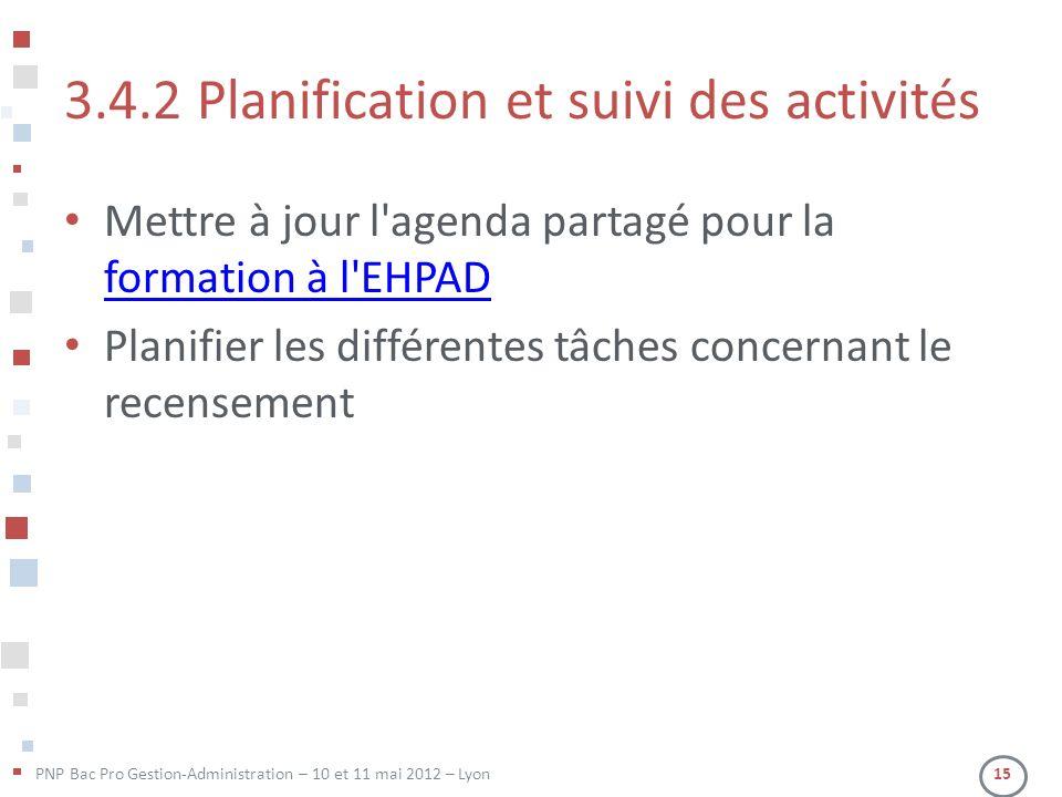 PNP Bac Pro Gestion-Administration – 10 et 11 mai 2012 – Lyon 15 3.4.2 Planification et suivi des activités Mettre à jour l'agenda partagé pour la for