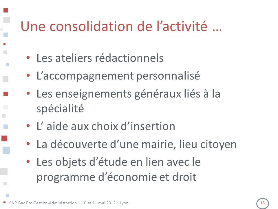 PNP Bac Pro Gestion-Administration – 10 et 11 mai 2012 – Lyon 16 Une consolidation de lactivité … Les ateliers rédactionnels Laccompagnement personnal