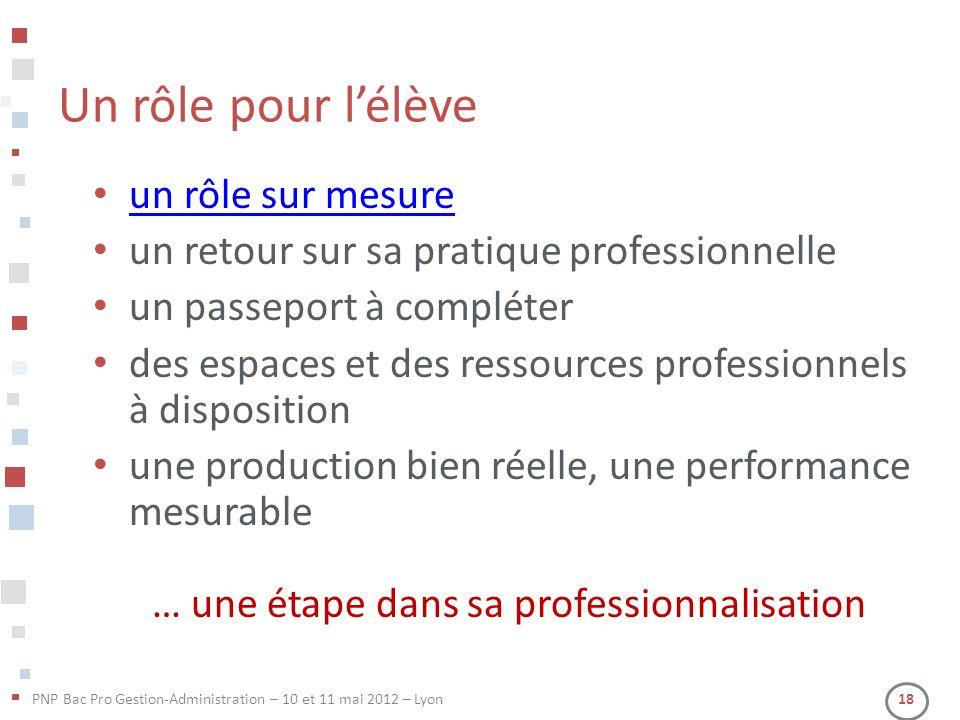PNP Bac Pro Gestion-Administration – 10 et 11 mai 2012 – Lyon 18 Un rôle pour lélève un rôle sur mesure un retour sur sa pratique professionnelle un p