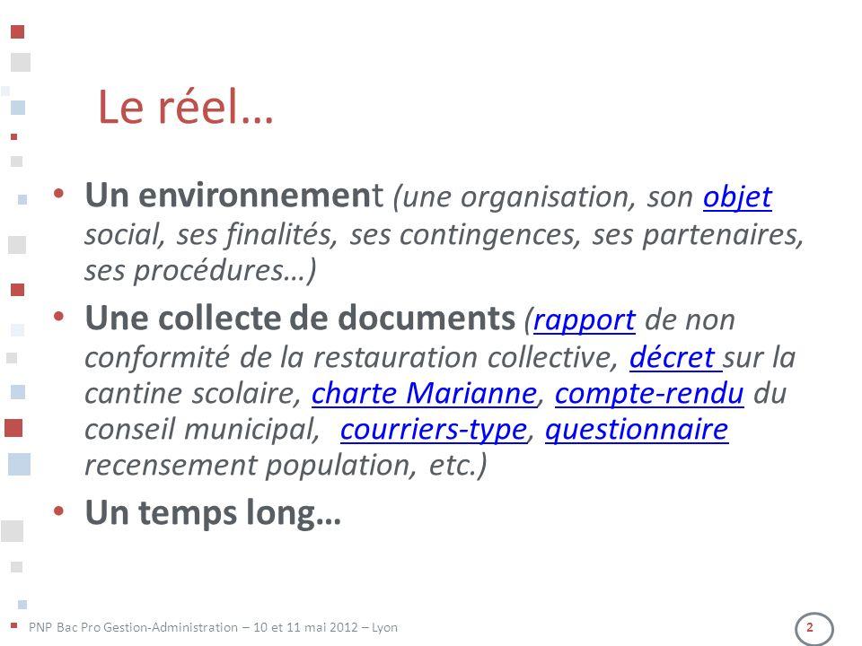 PNP Bac Pro Gestion-Administration – 10 et 11 mai 2012 – Lyon 2 Le réel… Un environnement (une organisation, son objet social, ses finalités, ses cont