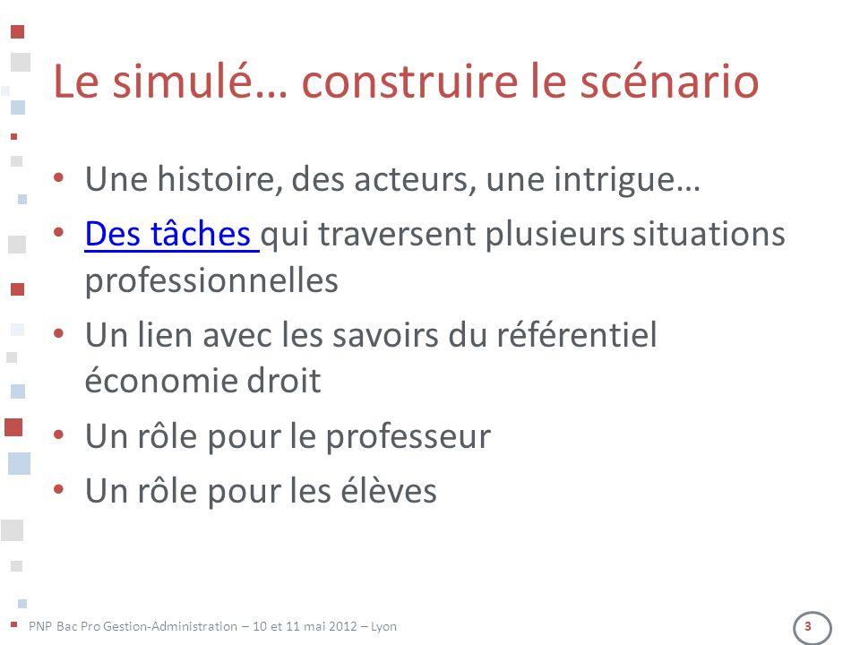 PNP Bac Pro Gestion-Administration – 10 et 11 mai 2012 – Lyon 3 Le simulé… construire le scénario Une histoire, des acteurs, une intrigue… Des tâches