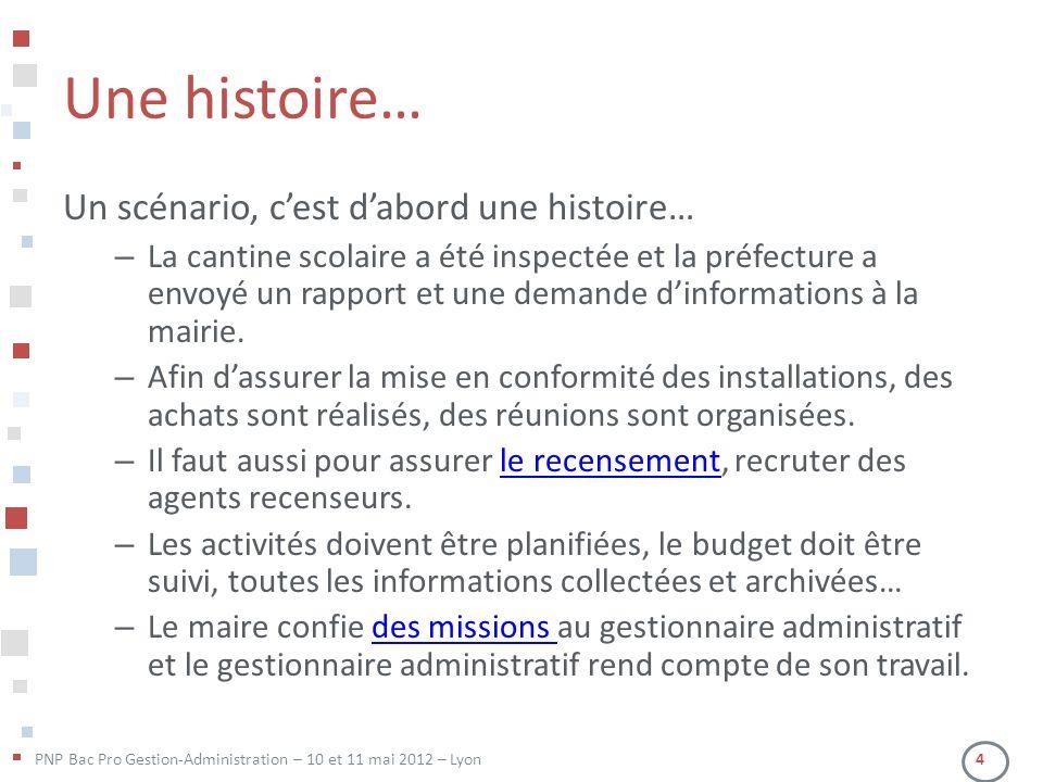 PNP Bac Pro Gestion-Administration – 10 et 11 mai 2012 – Lyon 4 Une histoire… Un scénario, cest dabord une histoire… – La cantine scolaire a été inspe