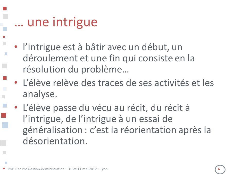 PNP Bac Pro Gestion-Administration – 10 et 11 mai 2012 – Lyon 6 … une intrigue lintrigue est à bâtir avec un début, un déroulement et une fin qui cons