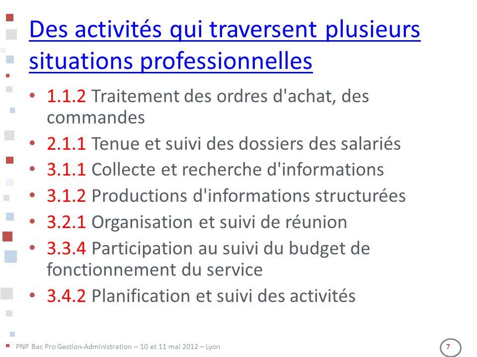 PNP Bac Pro Gestion-Administration – 10 et 11 mai 2012 – Lyon 7 Des activités qui traversent plusieurs situations professionnelles 1.1.2 Traitement de