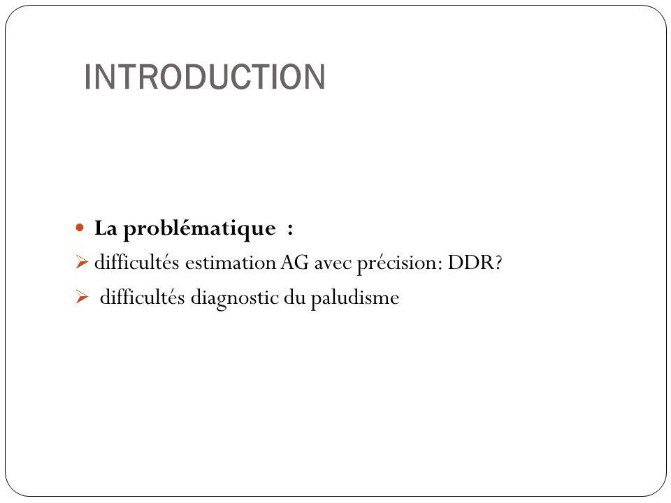 INTRODUCTION La problématique : difficultés estimation AG avec précision: DDR.