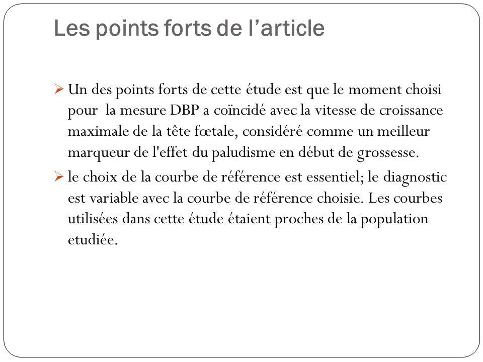 Les points forts de larticle Un des points forts de cette étude est que le moment choisi pour la mesure DBP a coïncidé avec la vitesse de croissance maximale de la tête fœtale, considéré comme un meilleur marqueur de l effet du paludisme en début de grossesse.