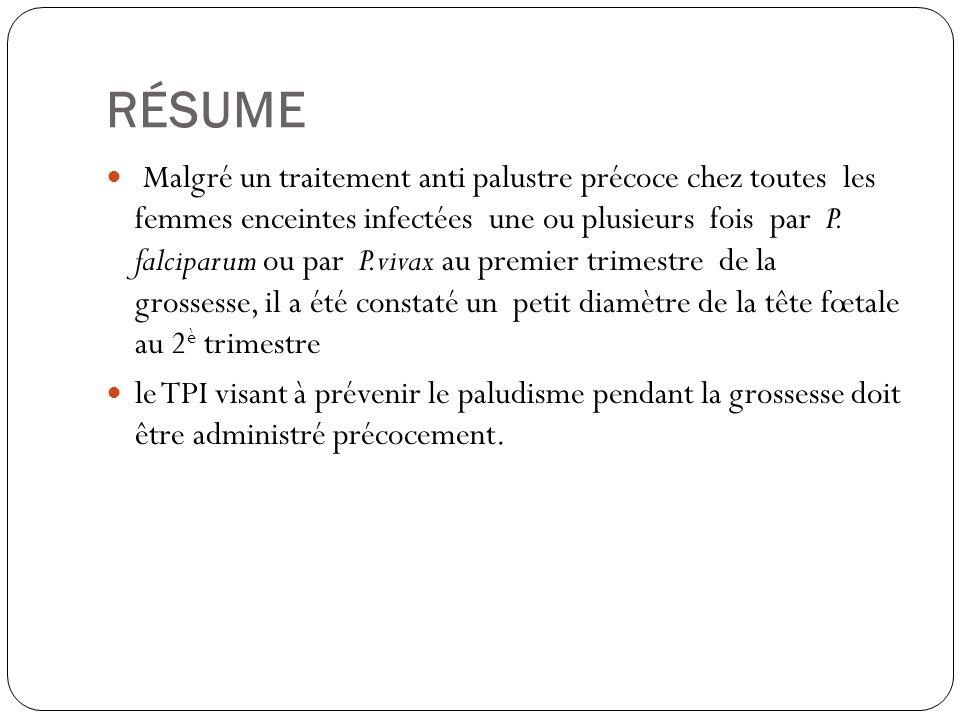 RÉSUME Malgré un traitement anti palustre précoce chez toutes les femmes enceintes infectées une ou plusieurs fois par P.