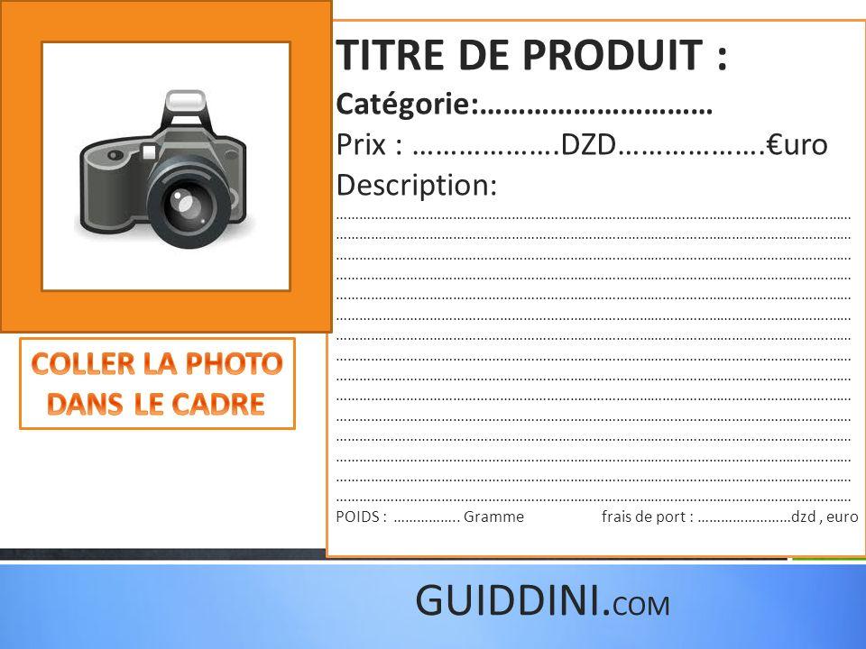 dupliquer les diapositives si vous avez dautres produits.
