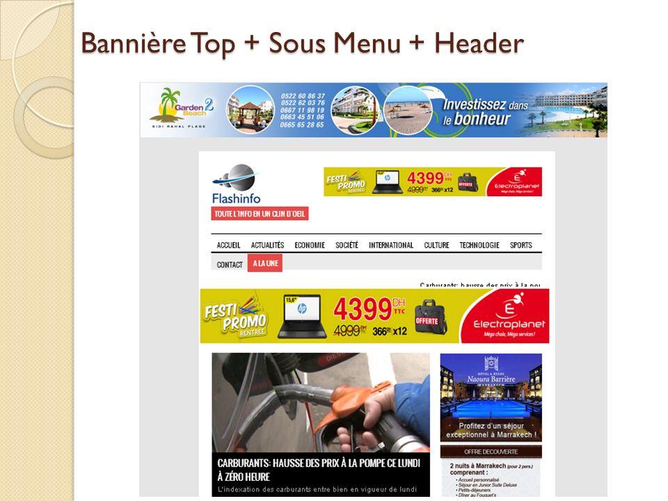 Bannière Top + Sous Menu + Header