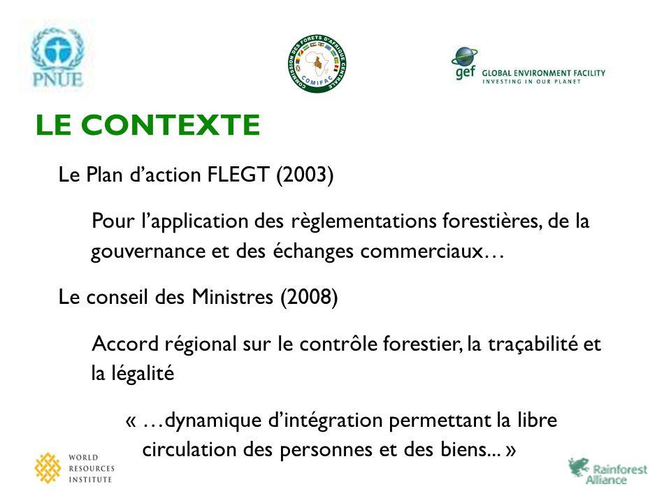LE CONTEXTE Le Plan daction FLEGT (2003) Pour lapplication des règlementations forestières, de la gouvernance et des échanges commerciaux… Le conseil