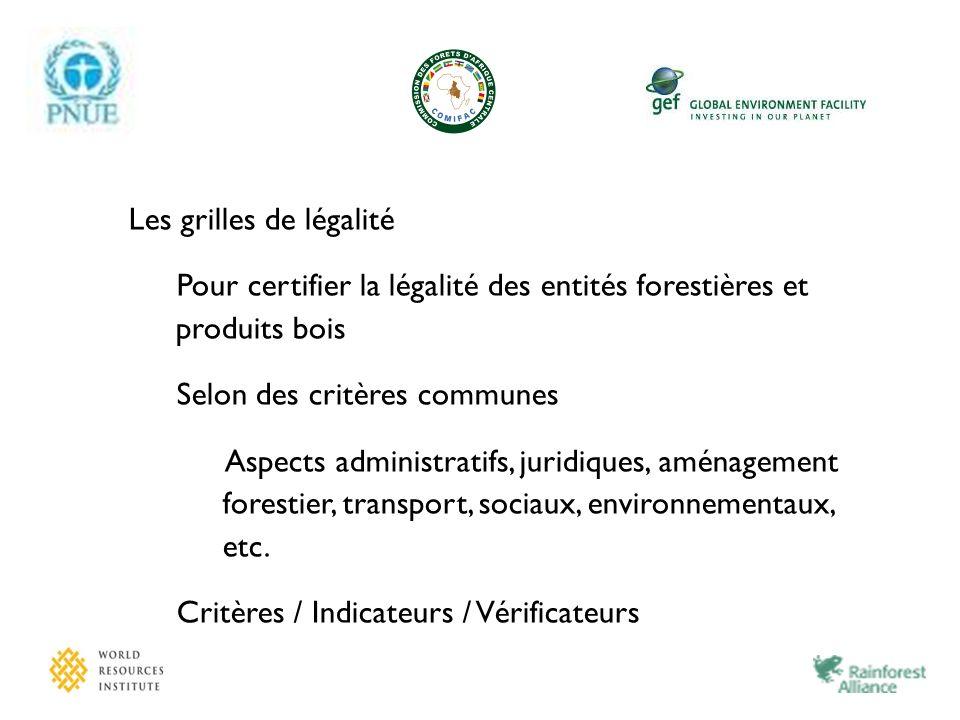 Les grilles de légalité Pour certifier la légalité des entités forestières et produits bois Selon des critères communes Aspects administratifs, juridi