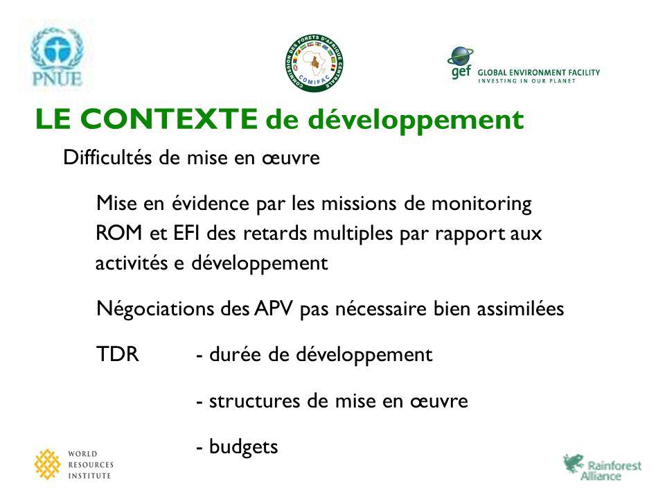 LE CONTEXTE de développement Difficultés de mise en œuvre Mise en évidence par les missions de monitoring ROM et EFI des retards multiples par rapport