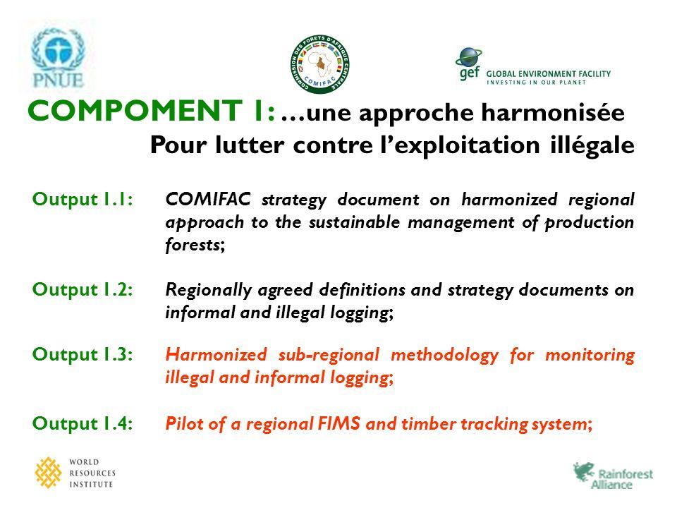 COMPOMENT 1: …une approche harmonisée Pour lutter contre lexploitation illégale Output 1.1:COMIFAC strategy document on harmonized regional approach t