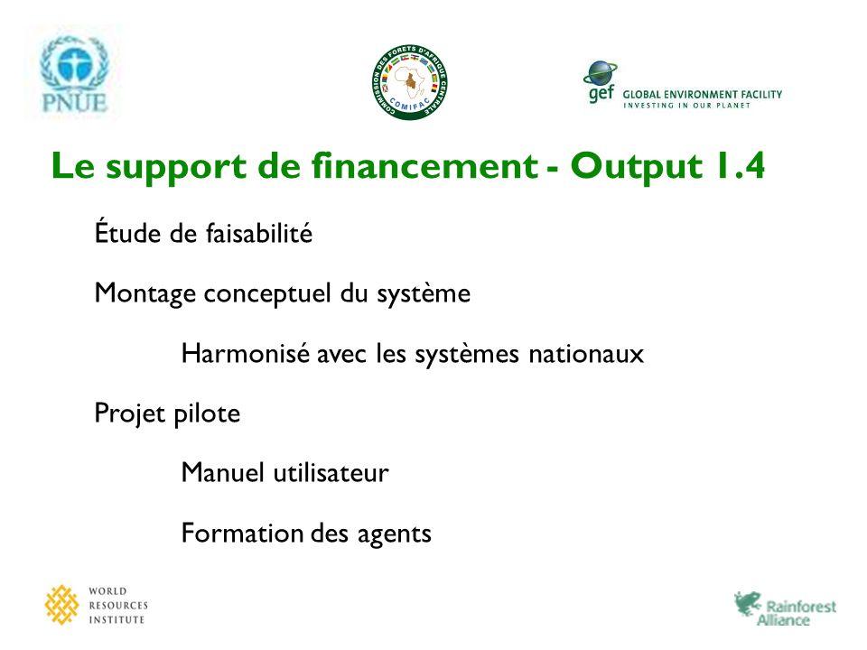 Le support de financement - Output 1.4 Étude de faisabilité Montage conceptuel du système Harmonisé avec les systèmes nationaux Projet pilote Manuel u