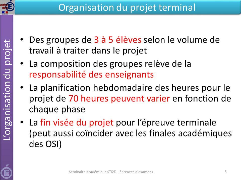 Séminaire académique STI2D - Epreuves d'examens3 Lorganisation du projet Organisation du projet terminal Des groupes de 3 à 5 élèves selon le volume d
