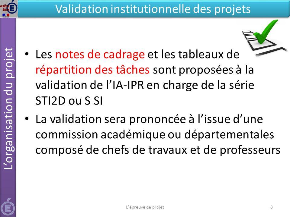 L'épreuve de projet8 Validation institutionnelle des projets Les notes de cadrage et les tableaux de répartition des tâches sont proposées à la valida