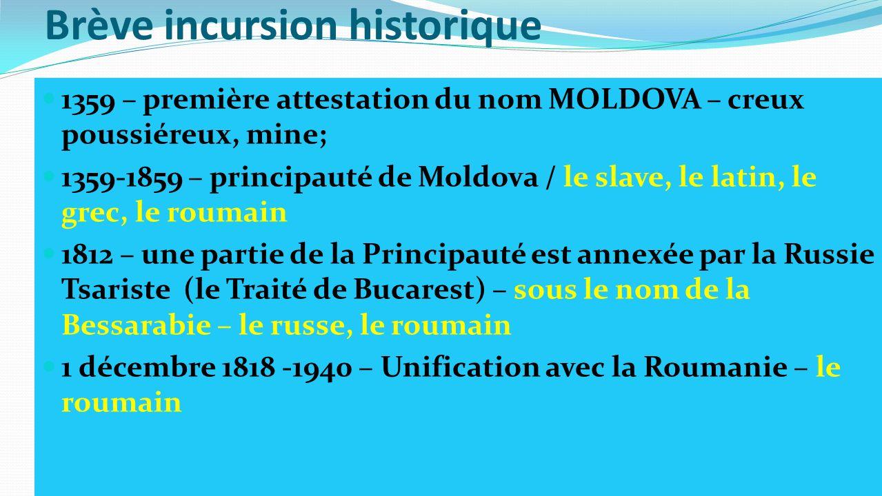 Brève incursion historique 1359 – première attestation du nom MOLDOVA – creux poussiéreux, mine; 1359-1859 – principauté de Moldova / le slave, le lat