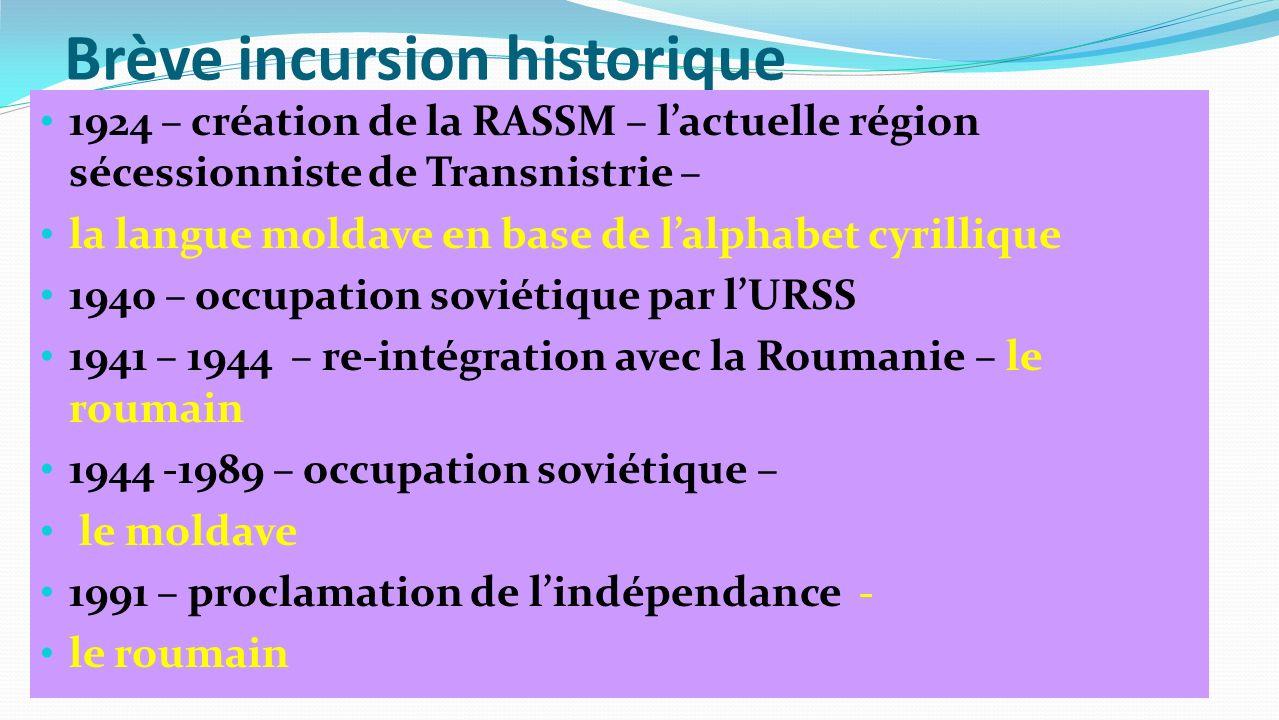 Brève incursion historique 1924 – création de la RASSM – lactuelle région sécessionniste de Transnistrie – la langue moldave en base de lalphabet cyri