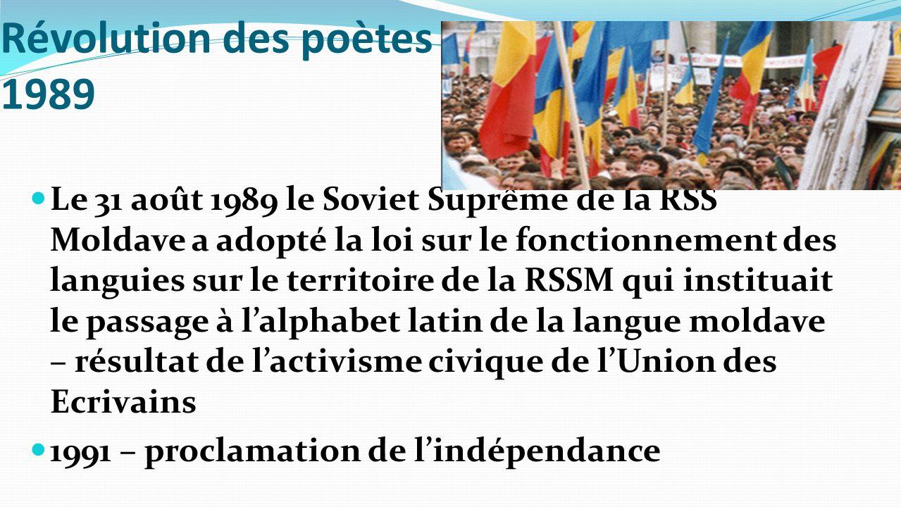 Révolution des poètes 1989 Le 31 août 1989 le Soviet Suprême de la RSS Moldave a adopté la loi sur le fonctionnement des languies sur le territoire de