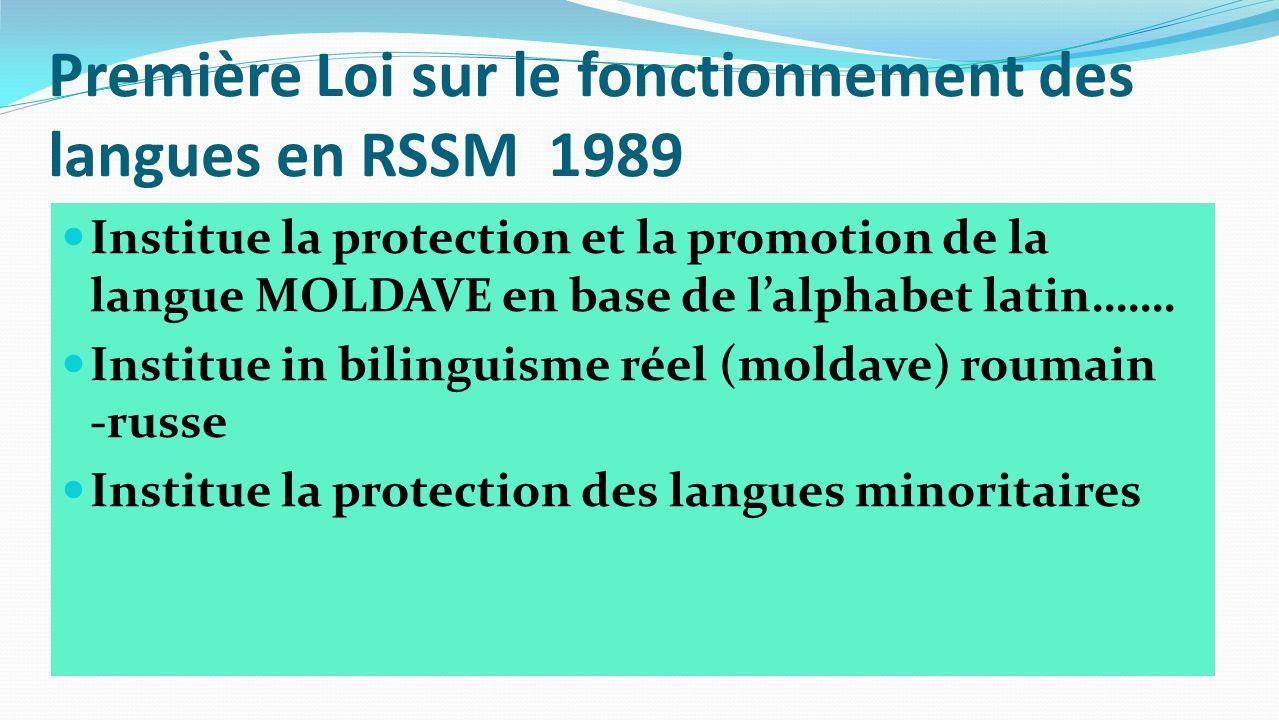 Première Loi sur le fonctionnement des langues en RSSM 1989 Institue la protection et la promotion de la langue MOLDAVE en base de lalphabet latin…….