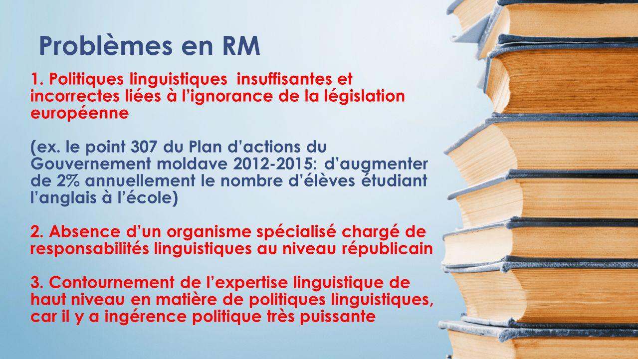 1. Politiques linguistiques insuffisantes et incorrectes liées à lignorance de la législation européenne (ex. le point 307 du Plan dactions du Gouvern