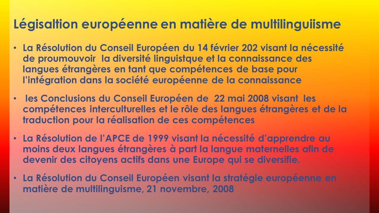 Légisaltion européenne en matière de multilinguiisme La Résolution du Conseil Européen du 14 février 202 visant la nécessité de proumouvoir la diversi