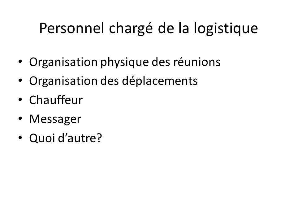 Personnel chargé de la logistique Organisation physique des réunions Organisation des déplacements Chauffeur Messager Quoi dautre
