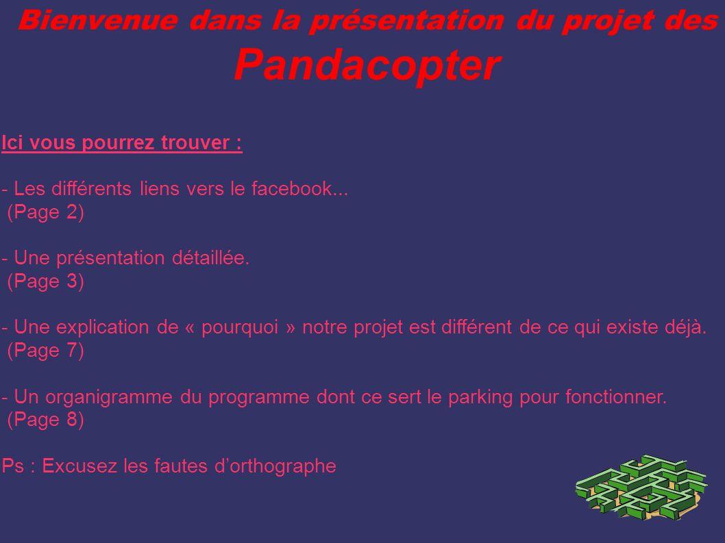 Bienvenue dans la présentation du projet des Pandacopter Ici vous pourrez trouver : - Les différents liens vers le facebook... (Page 2) - Une présenta