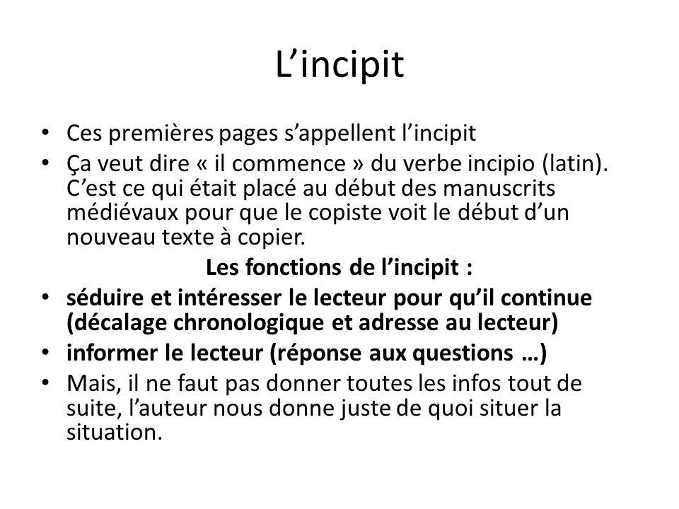 Lincipit Ces premières pages sappellent lincipit Ça veut dire « il commence » du verbe incipio (latin). Cest ce qui était placé au début des manuscrit