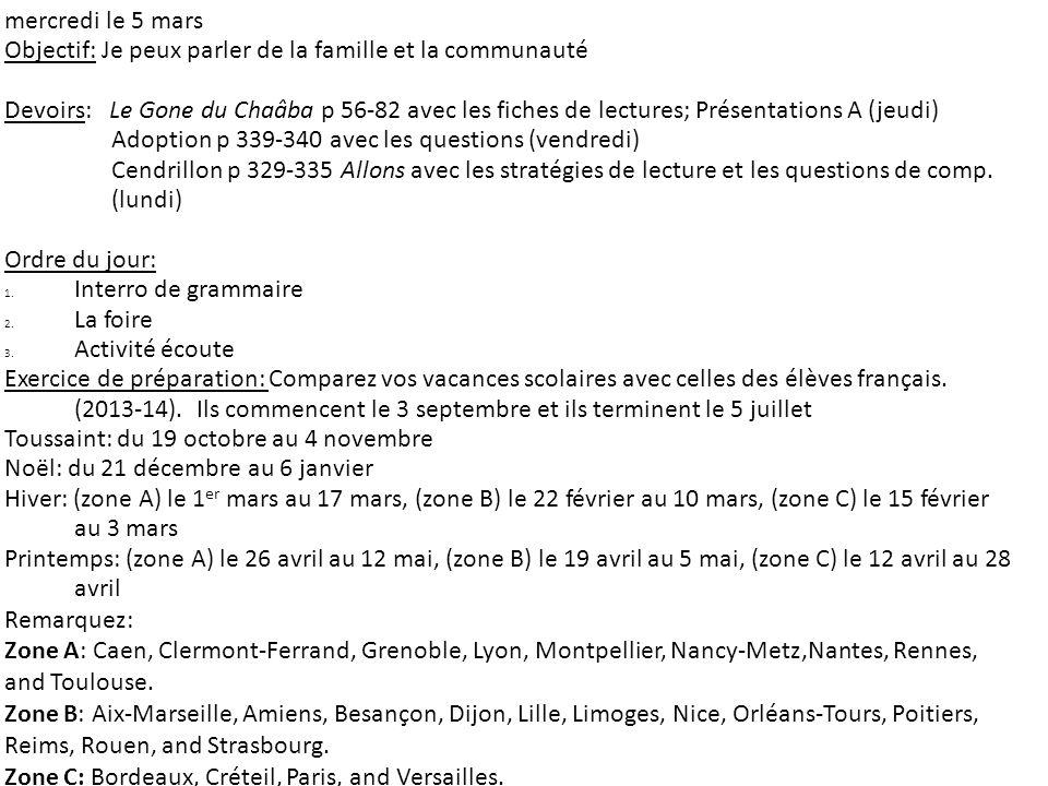 mercredi le 5 mars Objectif: Je peux parler de la famille et la communauté Devoirs: Le Gone du Chaâba p 56-82 avec les fiches de lectures; Présentatio