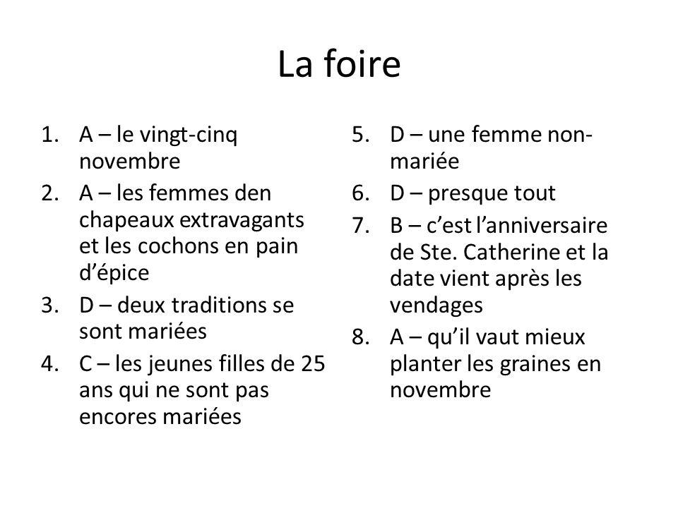 La foire 1.A – le vingt-cinq novembre 2.A – les femmes den chapeaux extravagants et les cochons en pain dépice 3.D – deux traditions se sont mariées 4