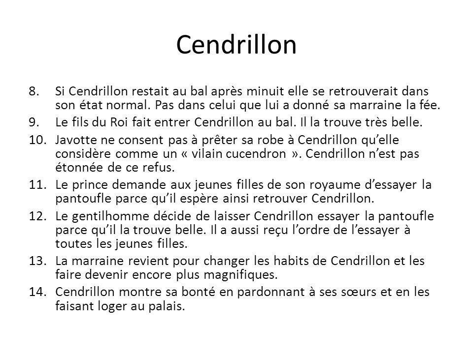 Cendrillon 8.Si Cendrillon restait au bal après minuit elle se retrouverait dans son état normal. Pas dans celui que lui a donné sa marraine la fée. 9