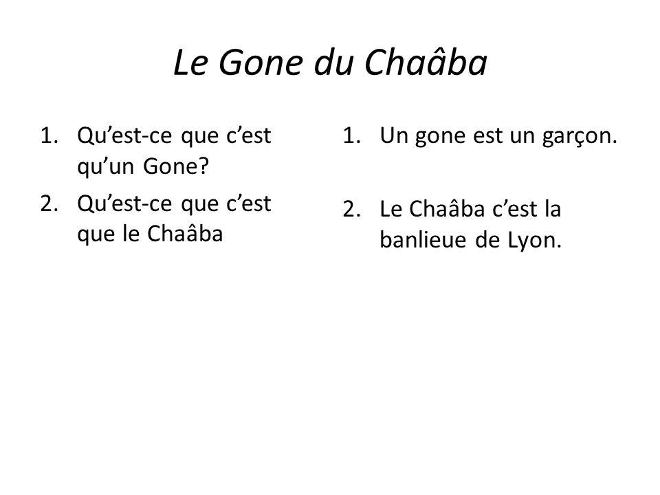 Le Gone du Chaâba 1.Quest-ce que cest quun Gone? 2.Quest-ce que cest que le Chaâba 1.Un gone est un garçon. 2.Le Chaâba cest la banlieue de Lyon.