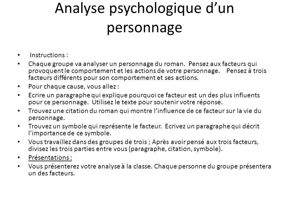 Analyse psychologique dun personnage Instructions : Chaque groupe va analyser un personnage du roman. Pensez aux facteurs qui provoquent le comporteme