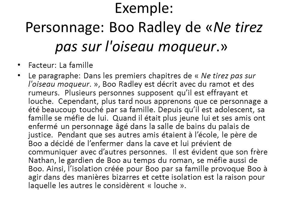 Exemple: Personnage: Boo Radley de «Ne tirez pas sur l'oiseau moqueur.» Facteur: La famille Le paragraphe: Dans les premiers chapitres de « Ne tirez p
