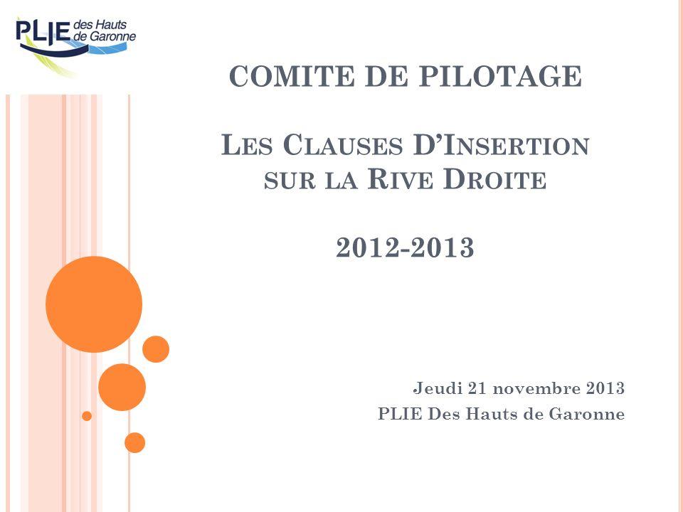 COMITE DE PILOTAGE L ES C LAUSES DI NSERTION SUR LA R IVE D ROITE 2012-2013 Jeudi 21 novembre 2013 PLIE Des Hauts de Garonne
