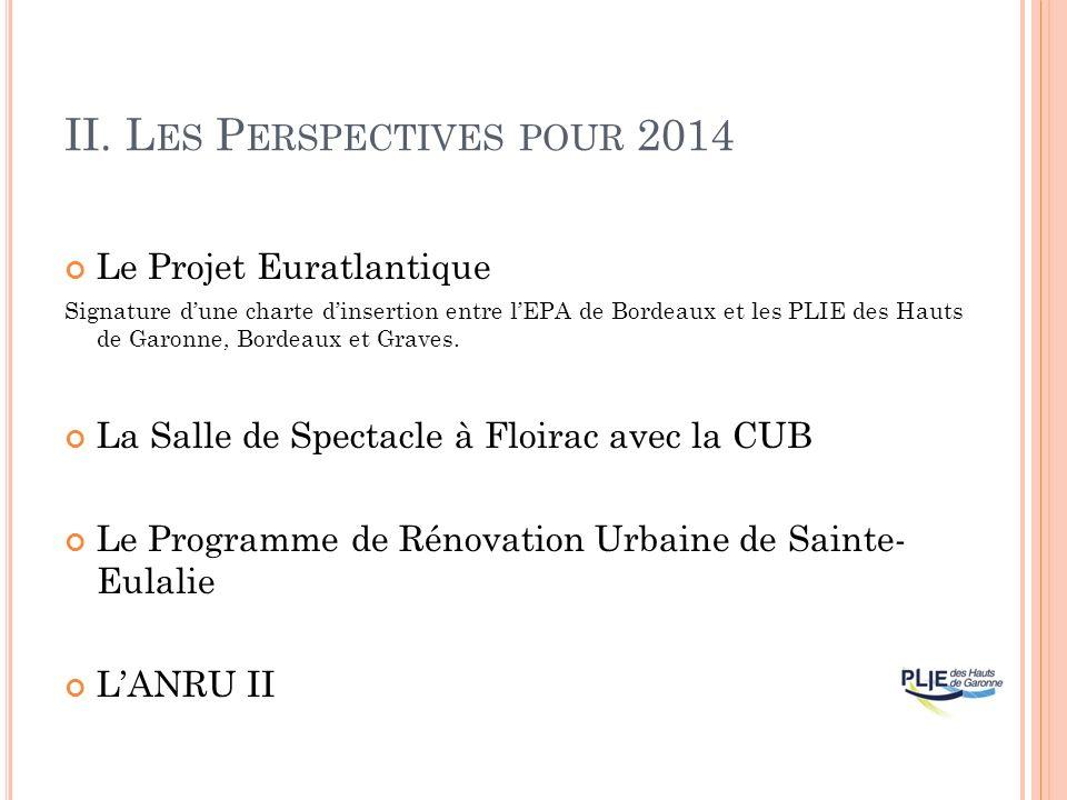 II. L ES P ERSPECTIVES POUR 2014 Le Projet Euratlantique Signature dune charte dinsertion entre lEPA de Bordeaux et les PLIE des Hauts de Garonne, Bor