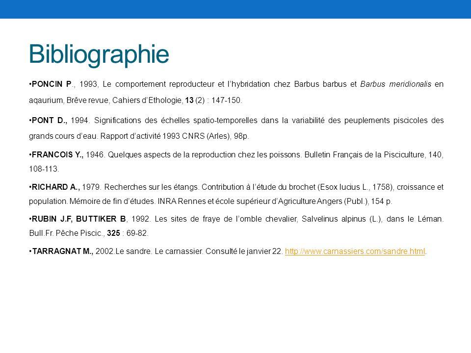 Bibliographie PONCIN P., 1993, Le comportement reproducteur et lhybridation chez Barbus barbus et Barbus meridionalis en aqaurium, Brêve revue, Cahier