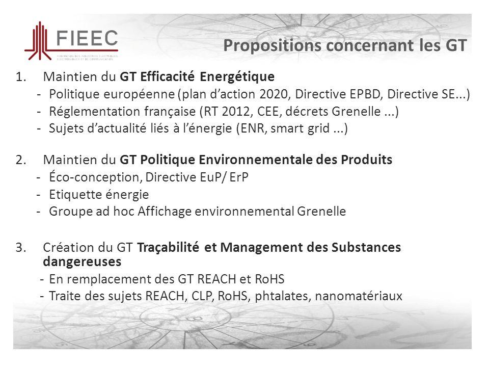 Propositions concernant les GT 1.Maintien du GT Efficacité Energétique -Politique européenne (plan daction 2020, Directive EPBD, Directive SE...) -Réglementation française (RT 2012, CEE, décrets Grenelle...) -Sujets dactualité liés à lénergie (ENR, smart grid...) 2.Maintien du GT Politique Environnementale des Produits -Éco-conception, Directive EuP/ ErP -Etiquette énergie -Groupe ad hoc Affichage environnemental Grenelle 3.Création du GT Traçabilité et Management des Substances dangereuses -En remplacement des GT REACH et RoHS -Traite des sujets REACH, CLP, RoHS, phtalates, nanomatériaux