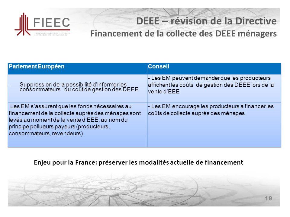 DEEE – révision de la Directive Financement de la collecte des DEEE ménagers 19 Enjeu pour la France: préserver les modalités actuelle de financement