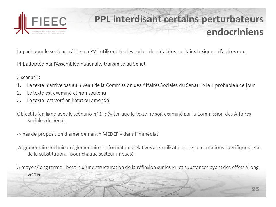 PPL interdisant certains perturbateurs endocriniens Impact pour le secteur: câbles en PVC utilisent toutes sortes de phtalates, certains toxiques, dautres non.